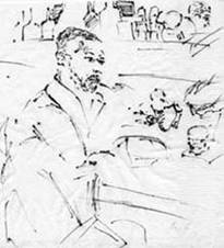 portrait of Omar Rayyan at Lola's, ink on napkin