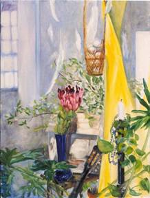 painting of pink protea flower, basket of eggs, feathers, plants, and Houses on the Move birdhouse by Ted Box.