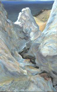 view from within white cliff crevasse painting