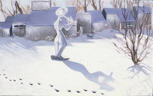 Tom Maley statue playing flute outside Field Gallery, West Tisbury, in winter with blue shadows and catprints across snow