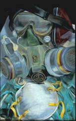 painting of ear protection, eye goggles, respirator, dust mask, and vinyl gloves