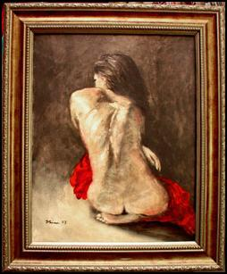 Back, oil nude on paper