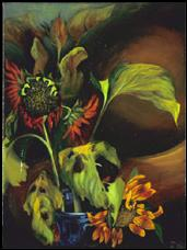 Wilt, oil on stretched paper.  Red and yellow sunflowers in cobalt blue glass vase, dark background.